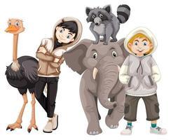 bambini con animali su sfondo isolato vettore