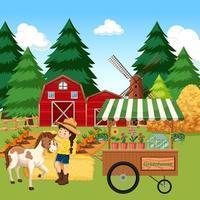 scena della fattoria con ragazza e cavallo nella fattoria