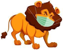 personaggio dei cartoni animati di leone che indossa la maschera vettore