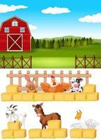 scena di fattoria con animali da fattoria nella fattoria vettore