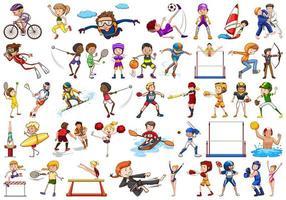attività sportive di ragazzi, ragazze, ragazzi, atleti isolati vettore