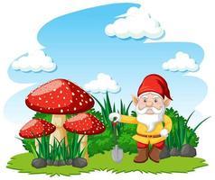 gnomi in piedi con il personaggio dei cartoni animati di funghi su sfondo bianco vettore