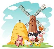 scena di fattoria con animali da fattoria nella fattoria