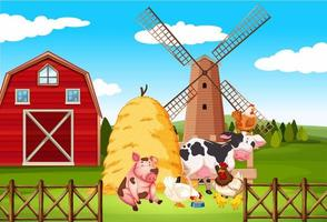 scena della fattoria con molti animali nella fattoria