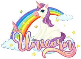 unicorno carino con segno di unicorno vettore
