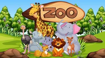 animali dello zoo sullo sfondo della natura selvaggia vettore