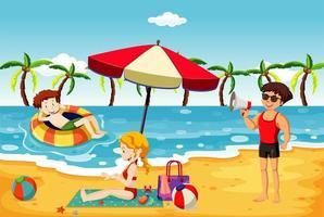 scena dell'oceano con persone che si divertono sulla spiaggia vettore