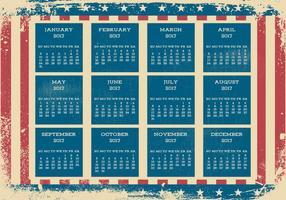 Calendario di stile patriottico di Grunge 2017