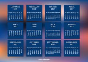 Calendario 2017 su bellissimo sfondo sfocato vettore