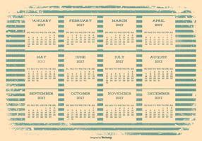 2017 calendario retrò grunge vettore