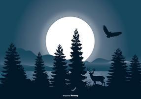 Bella scena del paesaggio notturno vettore
