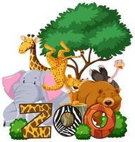 gruppo di animali sotto l'albero con il segno dello zoo vettore