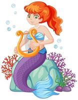 simpatico personaggio dei cartoni animati di sirena vettore