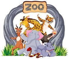 animali dello zoo al cartello d'ingresso vettore