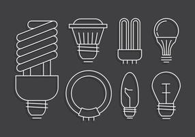 Set lampadina a luce lineare vettore