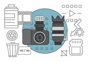 Icone di fotografia lineare vettore