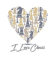 cuore fatto di figure di scacchi vettore