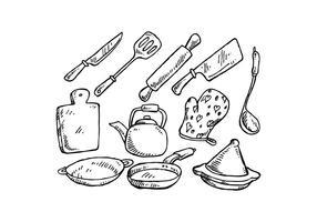 Vettore disegnato a mano degli strumenti liberi di cottura