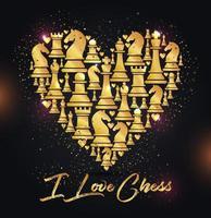 sfondo cuore con figure di scacchi vettore