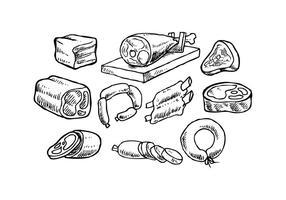Vettore disegnato a mano libera dei prodotti a base di carne