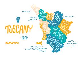 Vettore della mappa di Doodle della Toscana