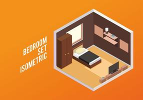 Camera da letto Set Isometrico vettoriali gratis