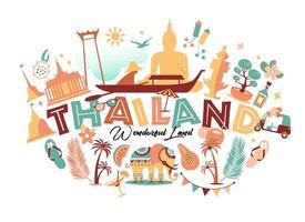 raccolta di simboli della Thailandia vettore