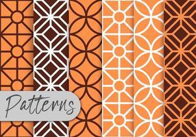 Set di pattern art linea arancione vettore