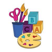 cartone animato torna a scuola e composizione di istruzione