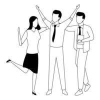 colleghi con forniture per ufficio in bianco e nero