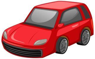 stile cartone animato auto rossa isolato su sfondo bianco