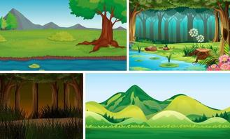 quattro scene di natura diversa di foresta e palude in stile cartone animato