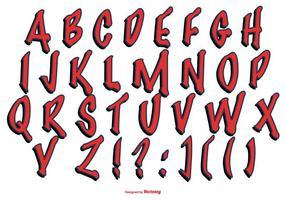 Collezione di alfabeto stile graffiti rossi vettore