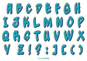 Collezione di alfabeto blu stile graffiti vettore
