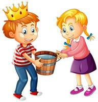 un ragazzo che indossa la corona con una ragazza carina su sfondo bianco