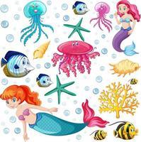 set di animali marini e personaggio dei cartoni animati sirena su sfondo bianco vettore