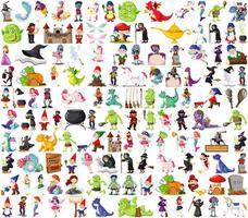 set di personaggi dei cartoni animati fantasy e tema fantasy isolato su sfondo bianco vettore