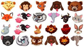 set di diversi simpatici animali del fumetto testa enorme isolato su sfondo bianco vettore