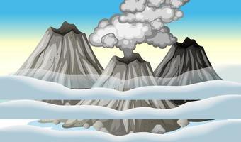 eruzione del vulcano nel cielo con scena di nuvole durante il giorno vettore