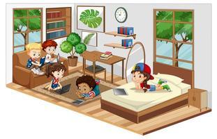 bambini in soggiorno con mobili