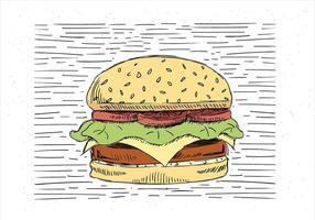 Illustrazione disegnata a mano libera dell'hamburger di vettore