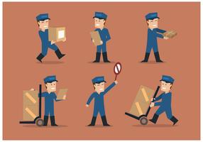 Vettori dell'illustrazione degli uomini di consegna e dei motori