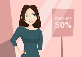 Illustrazione dello shopping donna vettore