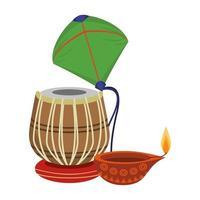 tamburo tabla indiano con aquilone e candela ad olio vettore