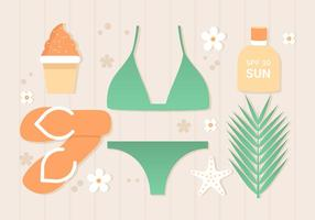 Sfondo piatto tropicale estate gratis vettore