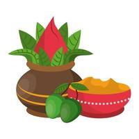 offerta del festival ugadi e composizione della celebrazione vettore
