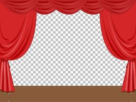 illustrazione di palcoscenico vuoto con tende rosse trasparenti