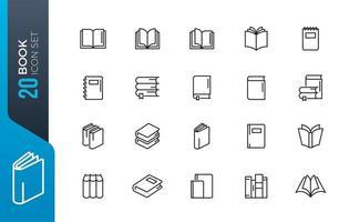 set di icone del libro minimo vettore