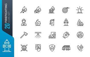 set di icone di linea di vigile del fuoco vettore