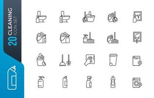 set di icone di pulizia minima vettore